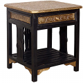 Wooden Brass Ftd Side Table with 1 Drawe